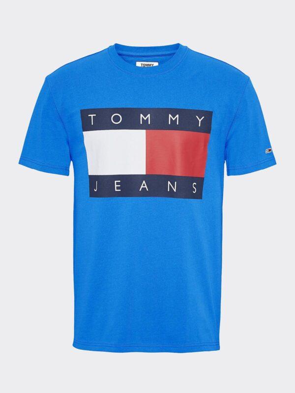 T-shirt Azzurra Flag Tommy Jeans