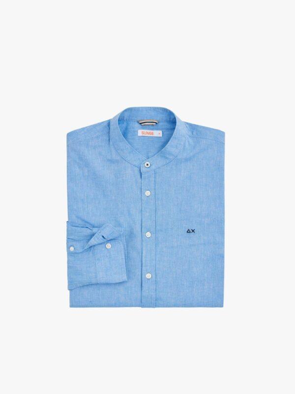 Camicia Celeste Collo Coreana Sun68