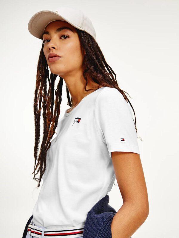 T-shirt Bianca in Cotone Biologico con Logo Tommy Hilfiger