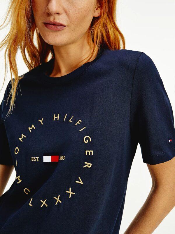 T-shirt Blu in Cotone Biologico Logo Circolare Tommy Hilfiger