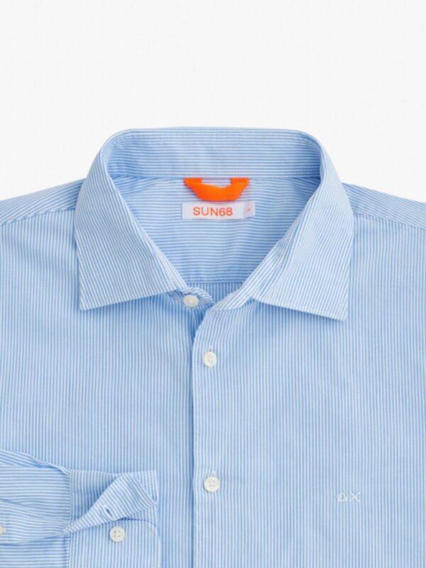 Camicia a Righe Celeste Chiaro Sun68