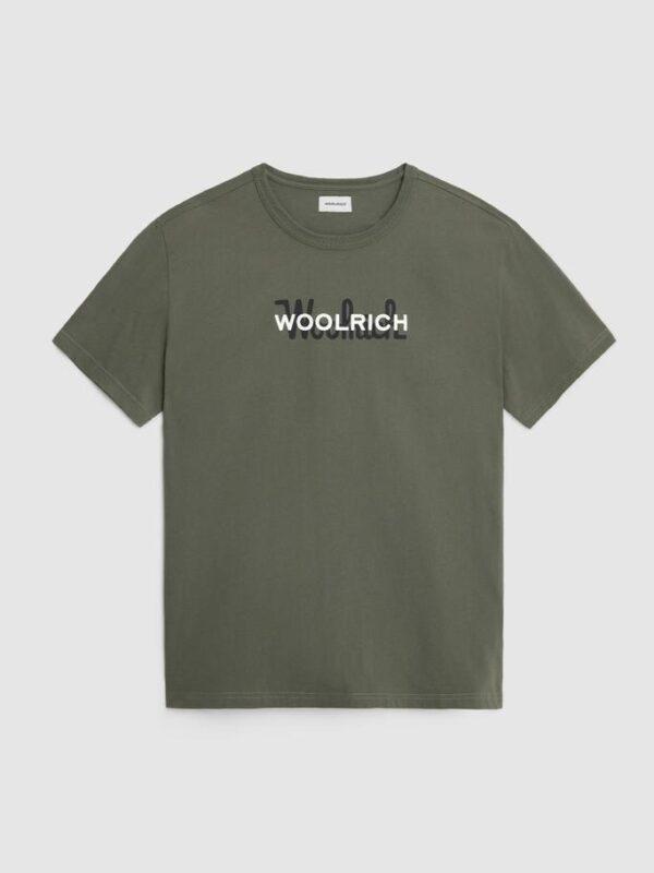 T-shirt Verde Logata Woolrich