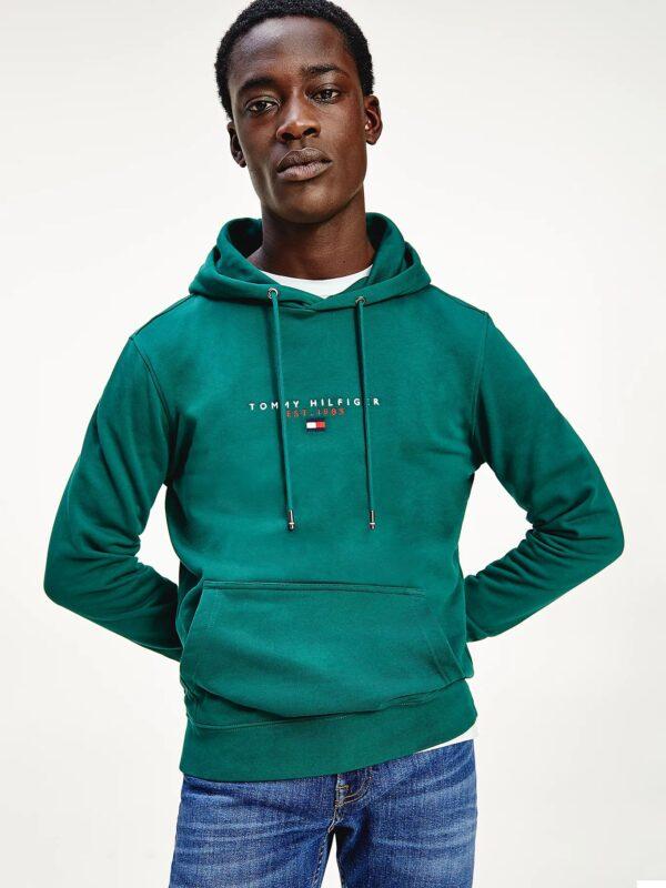 Felpa Verde Essential con Cappuccio Tommy Hilfiger