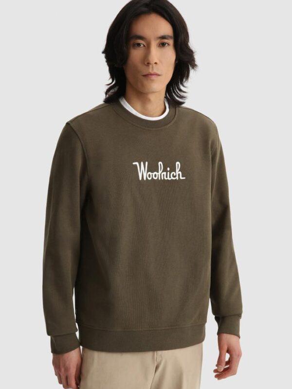 Felpa Verde Girocollo Woolrich