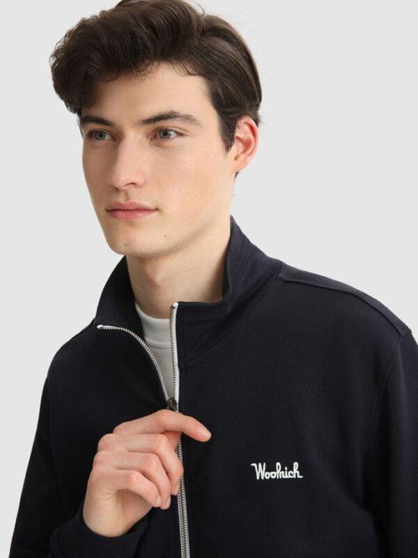 Felpa Blu con Zip e Logo Ricamato Woolrich