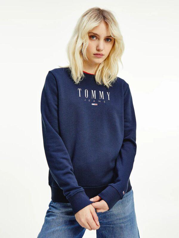 Felpa Blu in Cotone Biologico Tommy Jeans