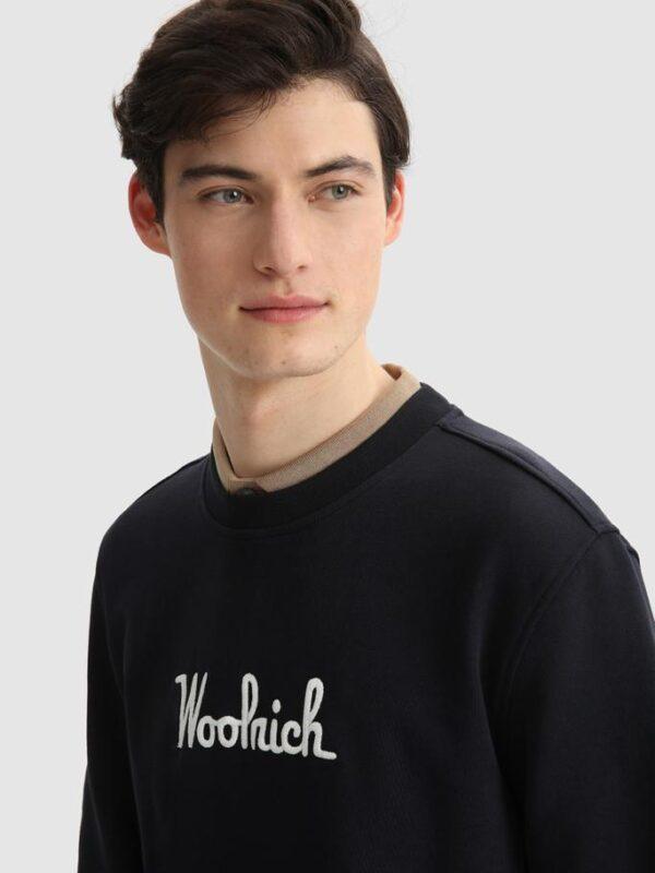 Felpa Blu Girocollo Woolrich