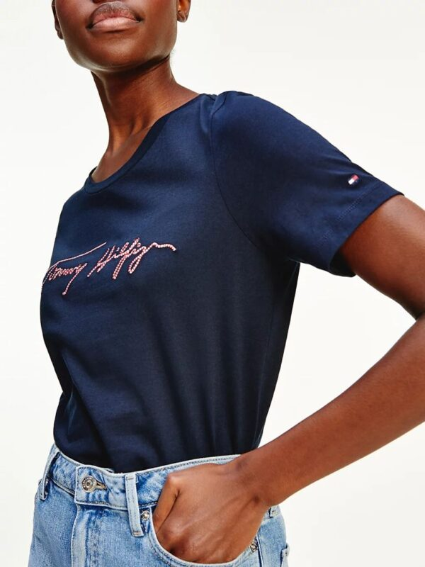 T-shirt Blu in Cotone Biologico Tommy Hilfiger