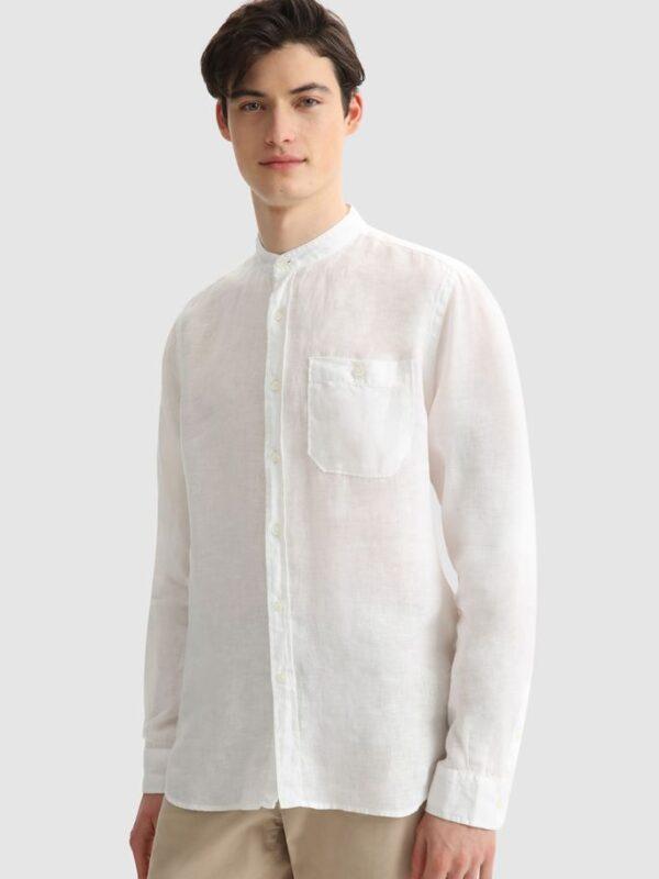 Camicia Bianca in Lino Collo Coreana Woolrich