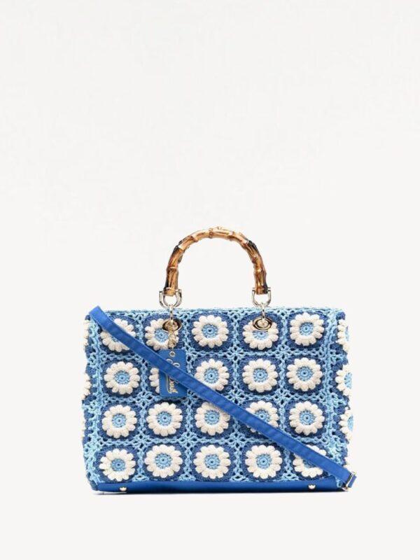 Borsa Crochet con Fiori Bianchi Saint Barth