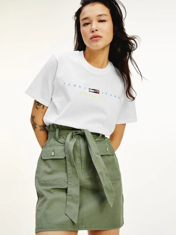 T-shirt Crop Bianca con Logo Tommy Jeans