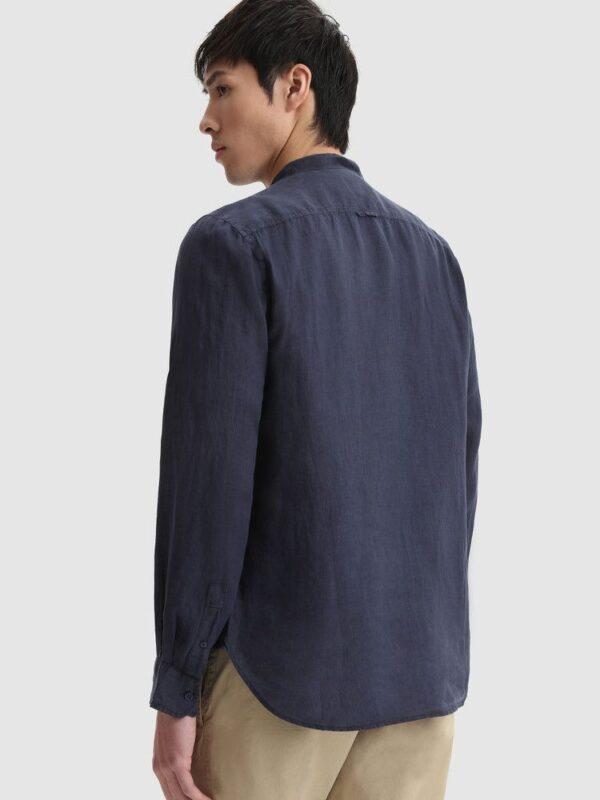 Camicia Blu in Lino Collo Coreana Woolrich