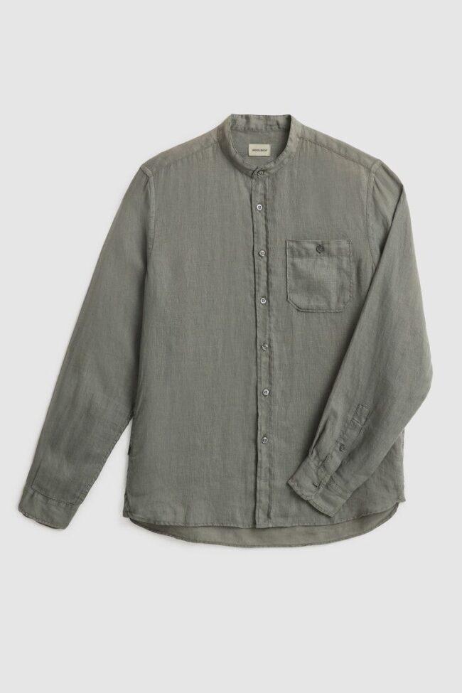 camicia collo coreana verde woolrich