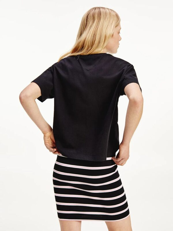 T-shirt Nera Crop in Cotone Biologico Tommy Jeans