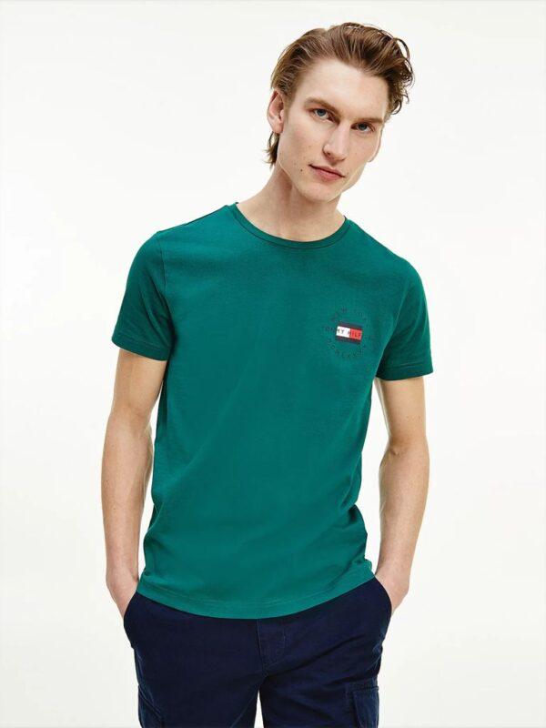 T-shirt Verde in Cotone Biologico Tommy Hilfiger