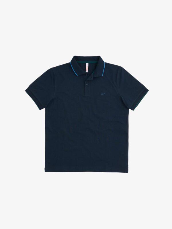 Polo Blu con Profili in Contrasto Sun68