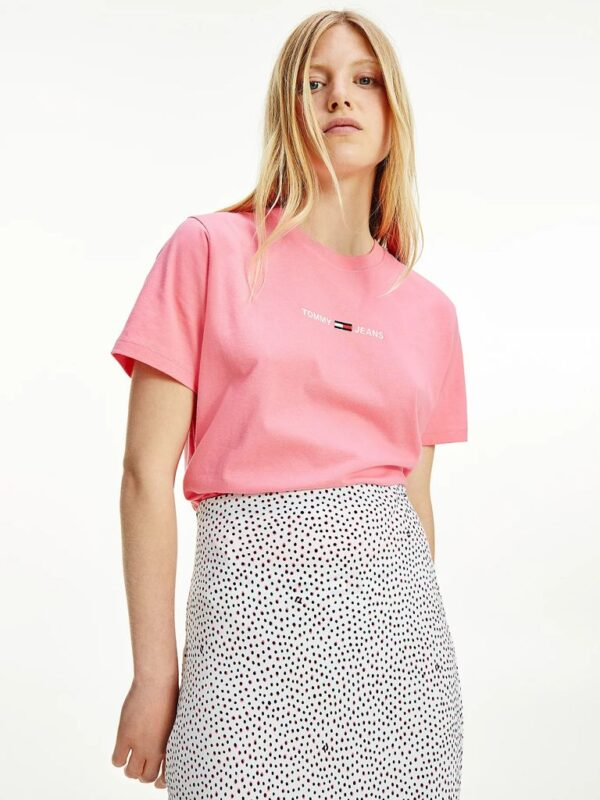 T-shirt Rosa in Cotone con Logo Tommy Jeans