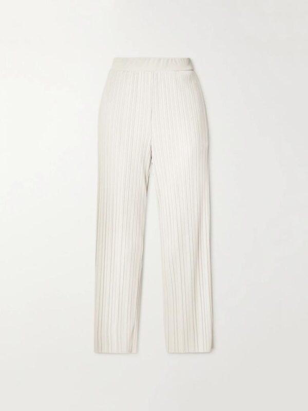 Pantaloni Avorio in Jersey Plissè Max Mara