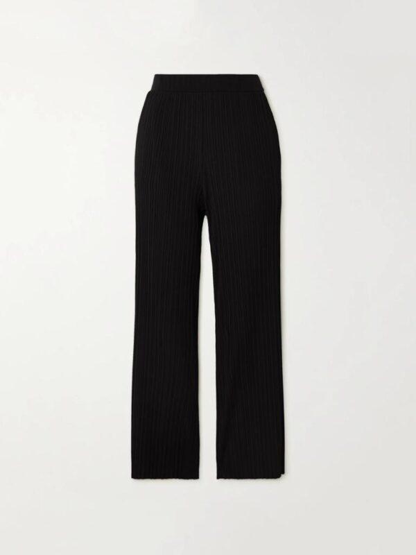 Pantaloni Neri in Jersey Plissè Max Mara