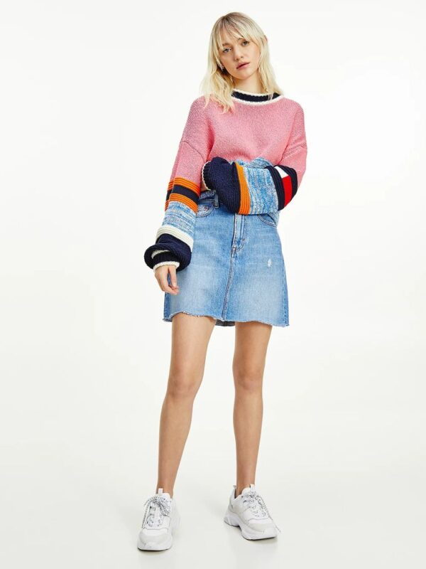 Gonna Denim Mom Fit Con Logo Tommy Jeans
