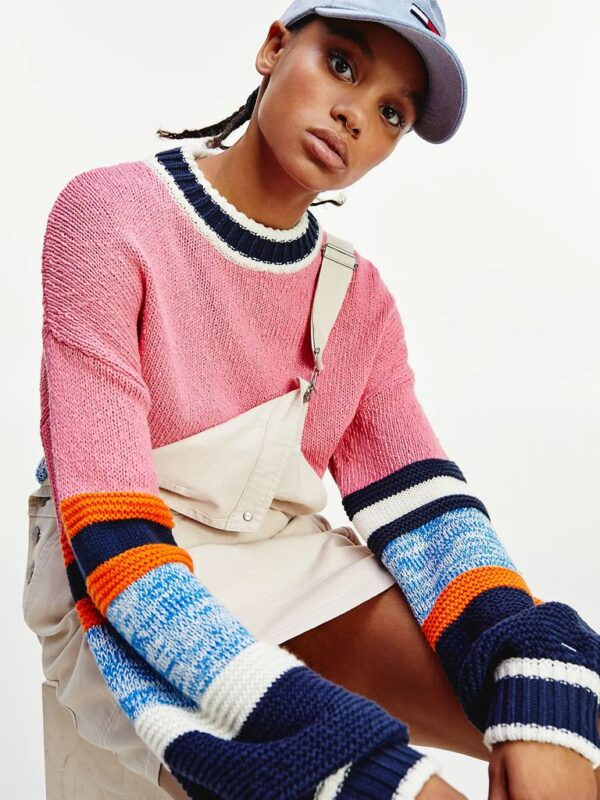 Pullover Color Block in Cotone Biologico Tommy Jeans