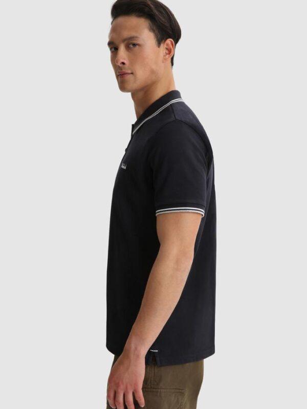 Polo Blu con Profili in Contrasto Woolrich