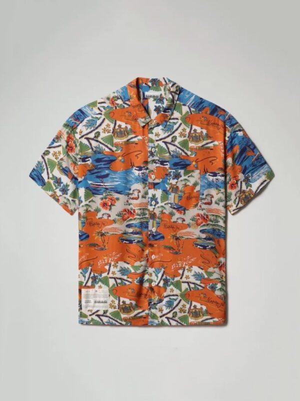 Camicia a Manica Corta Maui Arancio Napapijri
