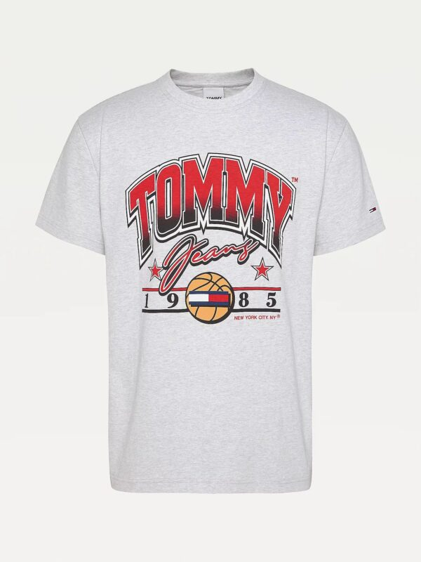 T-shirt in Cotone con Grafica Stile Basket Tommy Jeans