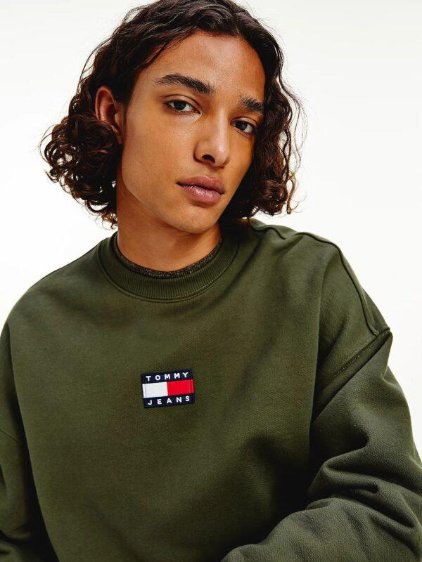 Felpa Verde con Logo Tommy Jeans