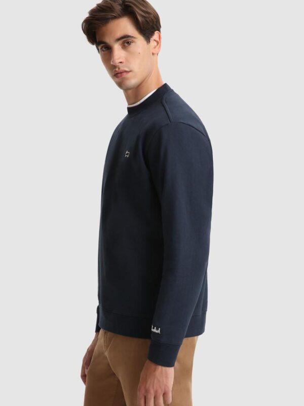 Felpa Blu Girocollo Basic Woolrich