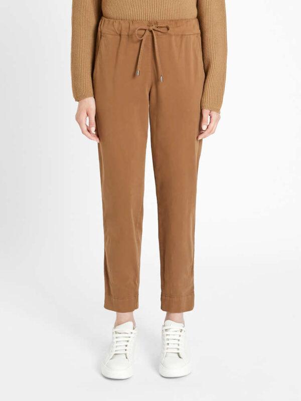 Pantaloni Cammello in Cotone Stretch Max Mara