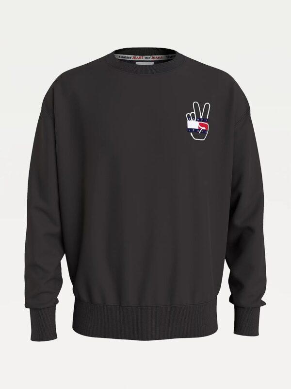 Felpa Nera con Logo Peace Tommy Jeans