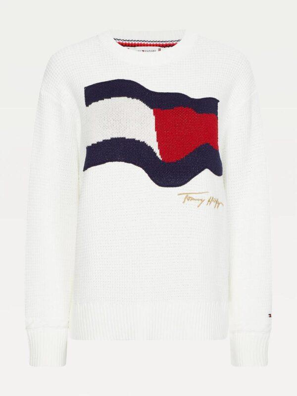 Pullover Bianco con Bandiera Tommy Hilfiger