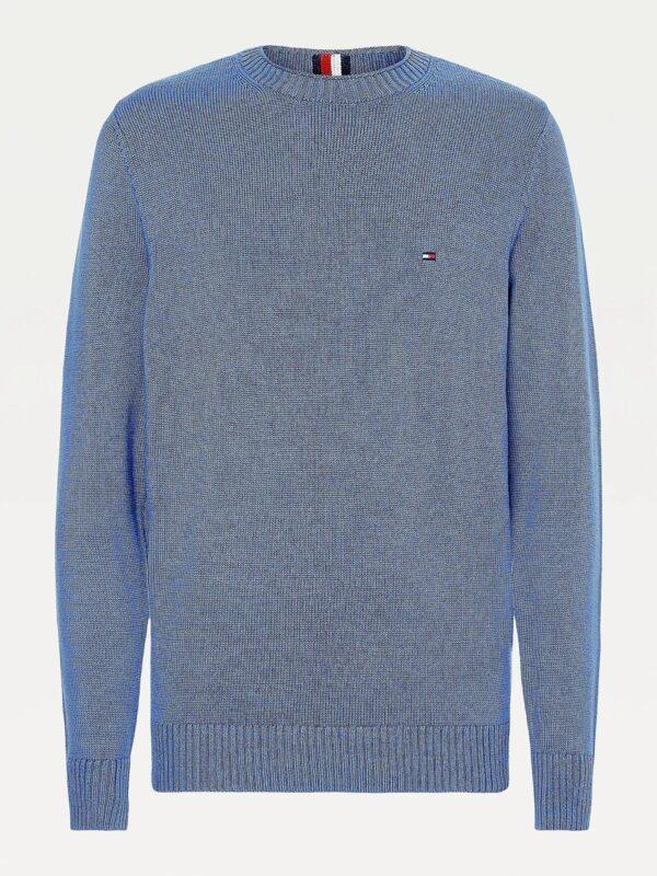 Pullover Blu Chiaro in Maglia Grossa Tommy Hilfiger