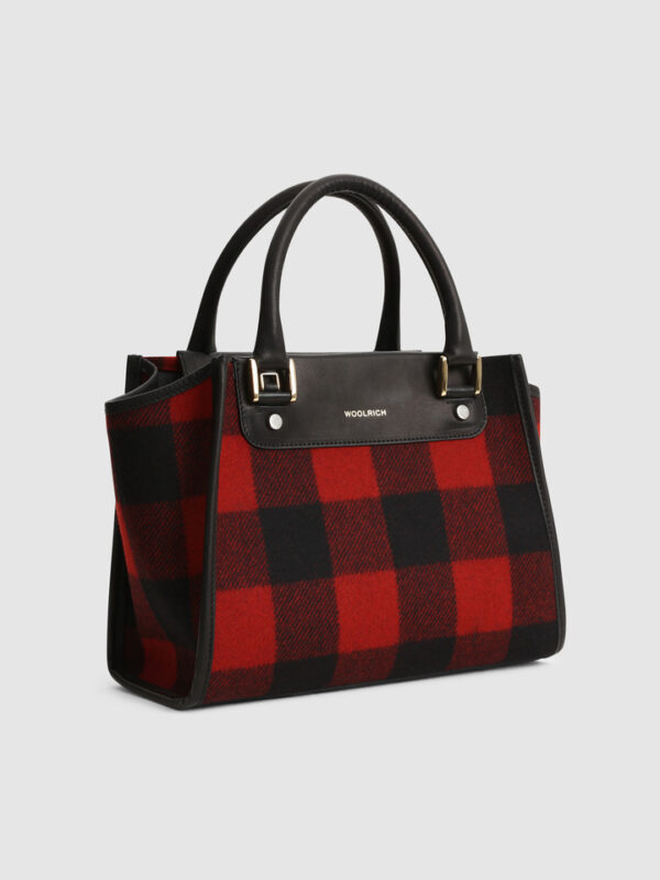Borsa Tote in Lana Check Rossa Woolrich