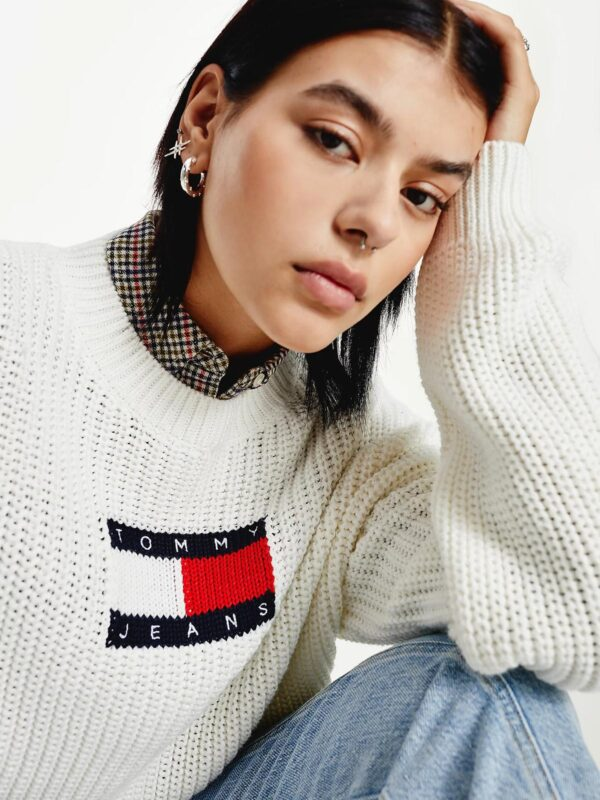 Pullover Bianco in Maglia Grossa Tommy Jeans