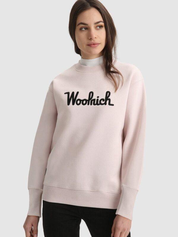 Felpa Rosa in Cotone Loagata Woolrich
