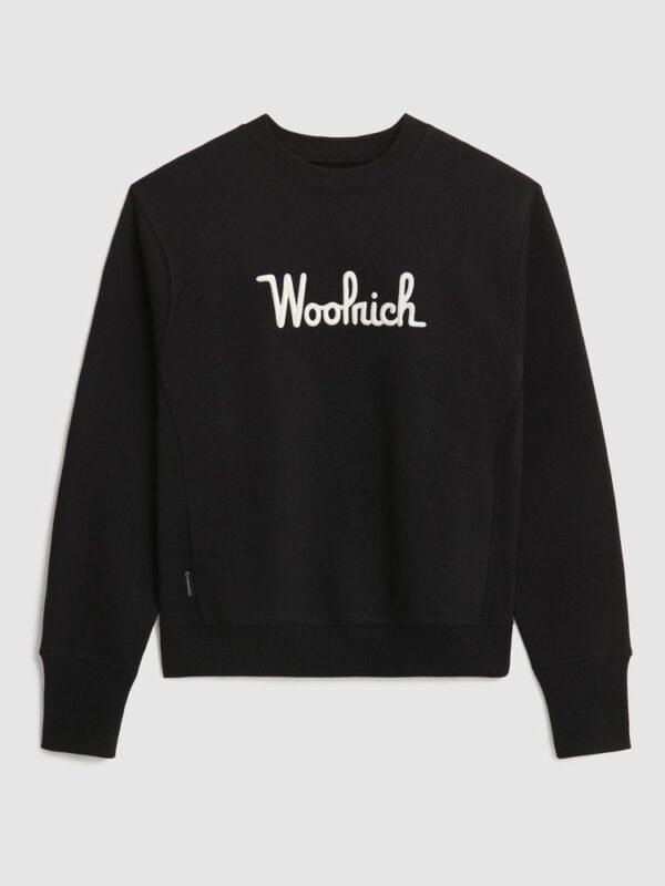 Felpa Nera in Cotone Loagata Woolrich