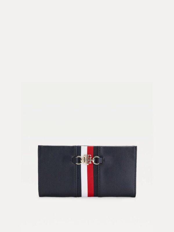Portafogli Blu con Morsetto e Logo Tommy Hilfiger